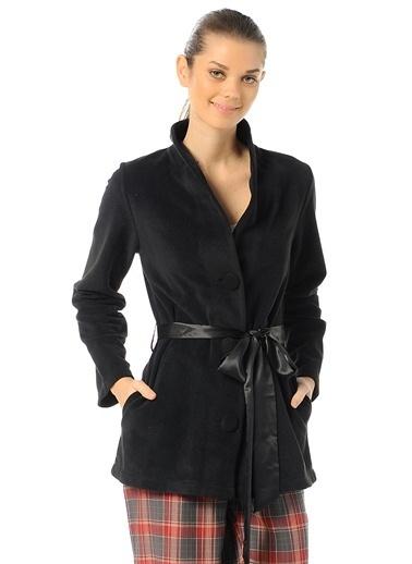 Magic Form Kısa Ceket Modelli Polar Sabahlık Siyah